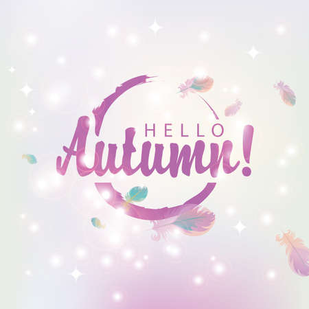 glare: Banner hello autumn on abstract pink background of stars and glare with bird feathers
