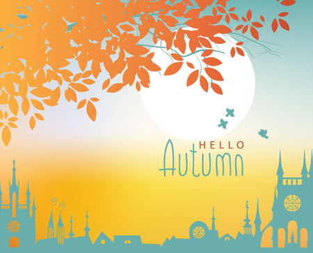 sparrows: vector autumn town landscape with tree and sparrows Illustration