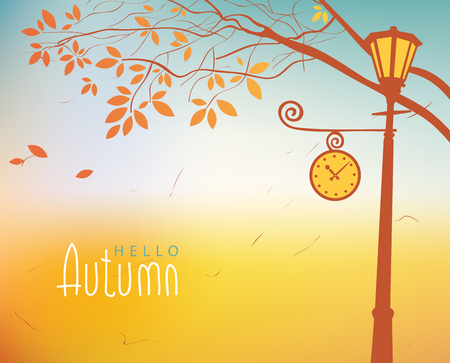lamp post: vector autumn landscape with trees in the park and Clock lamp post