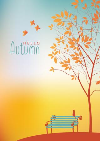 banc de parc: Vecteur paysage d'automne avec des arbres dans le parc et le banc Illustration