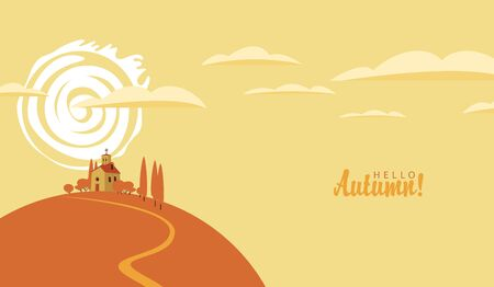vector autumn landscape with the village and the church on the hill at sunset Illustration