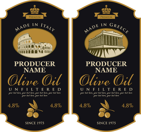 made in italy: Label for olive oil Made in Italy and Greece with the image of Colosseum and Parthenon Illustration