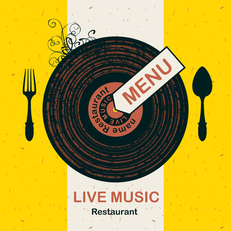 spun: banner for menu restaurant with live music patterned vinyl and cutlery Illustration