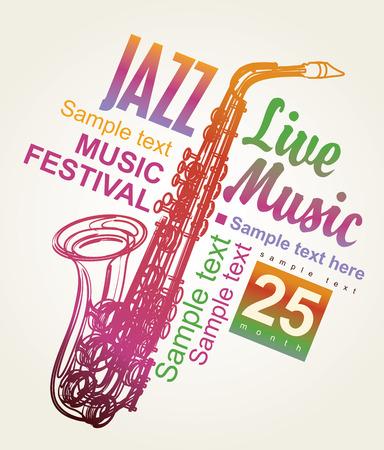 Cartel para el festival de jazz con un saxofón