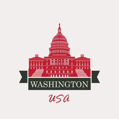 Vector illustration Capitol Building in Washington, DC with flag USA