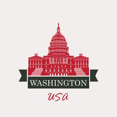 senate: Vector illustration Capitol Building in Washington, DC with flag USA