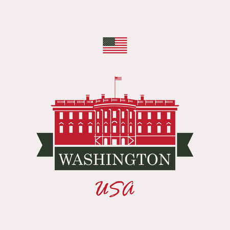 history architecture: vector illustration white house washington dc with flag