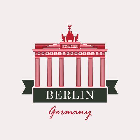 gates: Banner with the Brandenburg Gate in Berlin Illustration