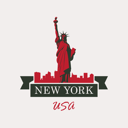 freedom woman: banner with statue of Liberty in background of New York in flag Illustration