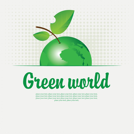 earth planet: Green banner with with a picture of the planet in the form of an apple
