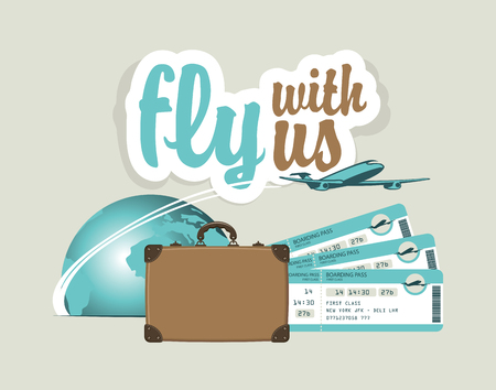 plane tickets: vector banner for air travel with an airplane, planet, suitcase and plane tickets