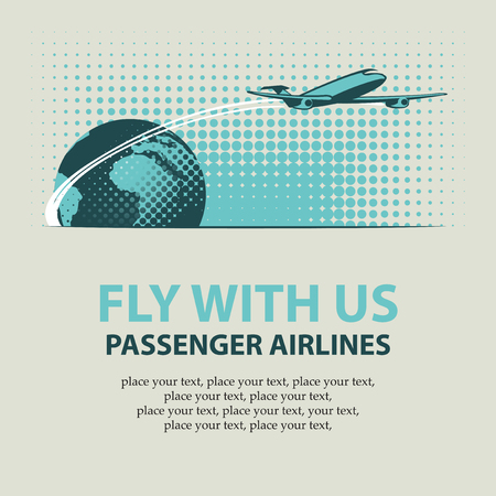 passenger plane: banner with passenger plane and planet Earth