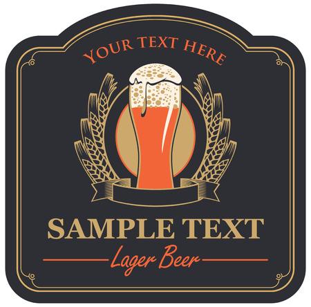 cerveza negra: etiqueta de la cerveza con un vidrio y una corona de trigo