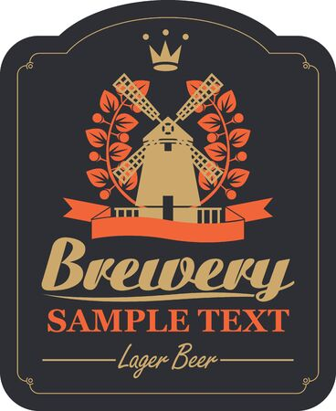 brasserie: labels for the brewery or beer with a picture of a windmill