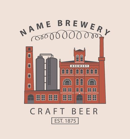 brasserie: vector banner with the image of the brewery building in retro style