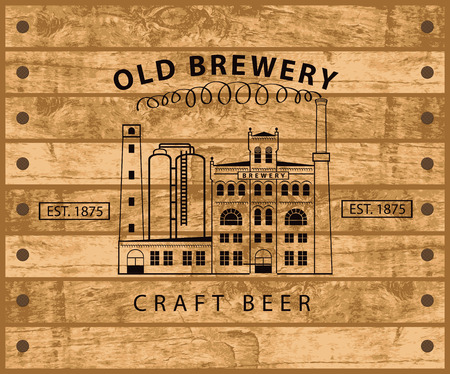 window bars: vector banner with the image of the brewery building in retro style against the backdrop of wooden planks Illustration