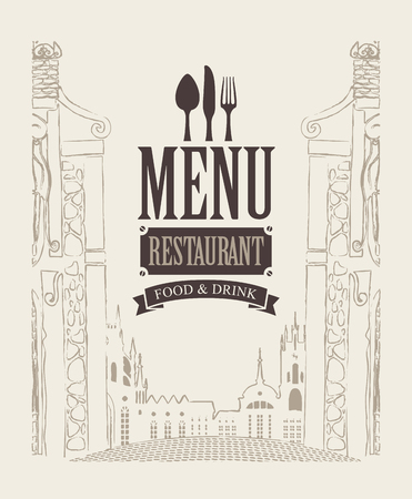 old town house: cover menu for cafe or restaurant with drawing house in old town