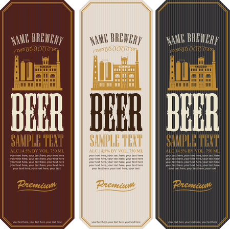 beer production: set of beer labels and the image of the brewery building Illustration
