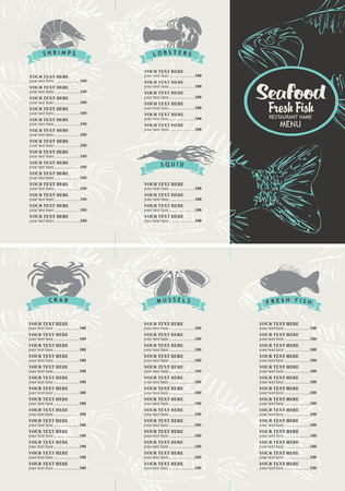 sturgeon: booklet menu with price list for a seafood restaurant with a picture of marine animals and fish