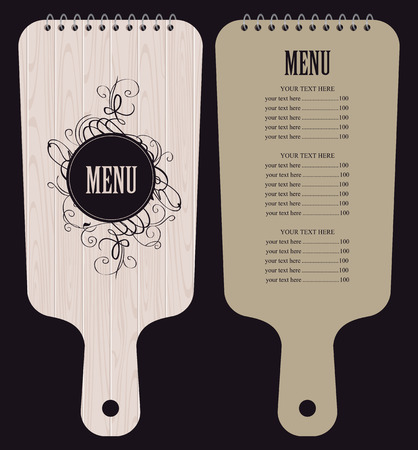 cutting board: menu for the restaurant in the form of wooden cutting board