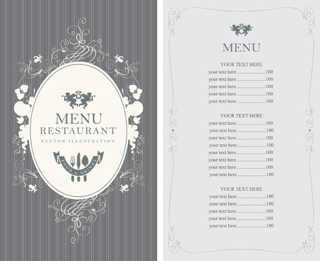 Frame menu with floral ornaments in style baroque and price