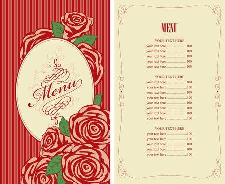 retro restaurant: menu for the restaurant with roses in retro style Illustration
