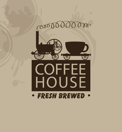 fresh brewed: banner for coffee houses with a vintage steam locomotive and a cup