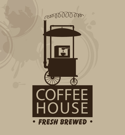 fresh brewed: banner for coffee house with a mobile trolley and coffee machine