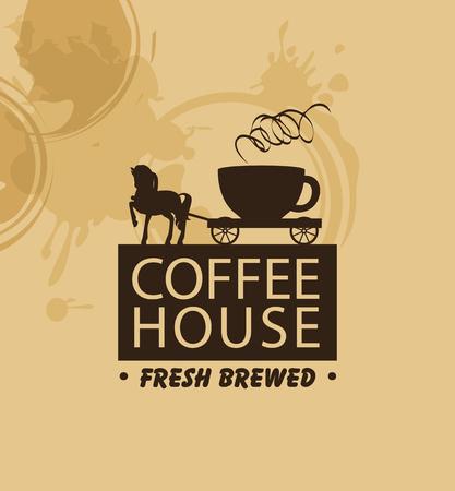caballo bebe: bandera para el café con un caballo y un carro con una taza Vectores