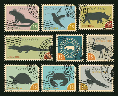 wildlife reserve: set of postage stamps on the theme of wildlife animals and birds