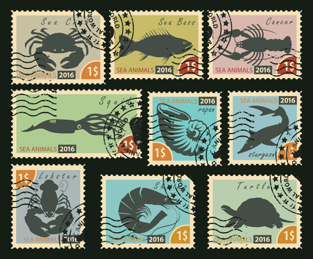 stamp: set of postage stamps with silhouettes of sea animals