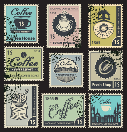 cocoa: set of stamps on the theme of coffee house Illustration