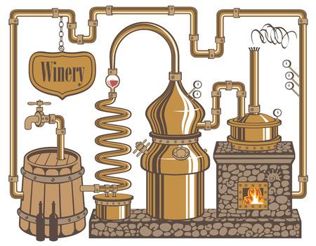 와인의 생산을위한 와이너리 공장