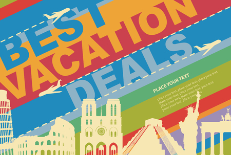 the country: banner for a travel agency with architectural attractions from different countries