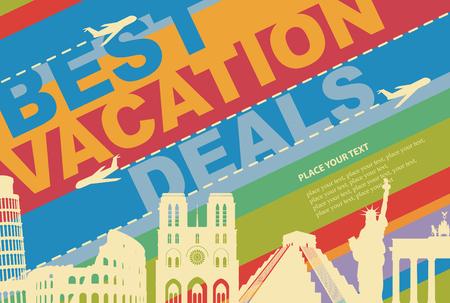 campestre: banner para una agencia de viajes con atractivos arquitectónicos de diferentes países Vectores