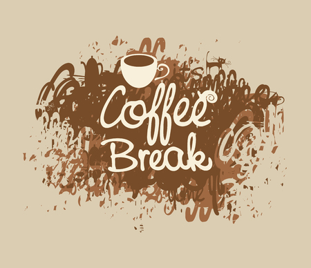 banner with the inscription coffee break with a cup on a background of splashing and stains Illustration