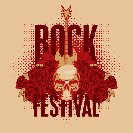 cd label: music poster with an electric guitar among flowers roses and the words Rock festival