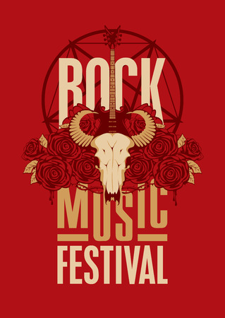 banner poster for festival rock music with goat skull, roses and electric guitar