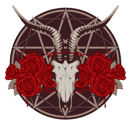 heavy metal: emblem with goat skull and roses with a pentagram Illustration