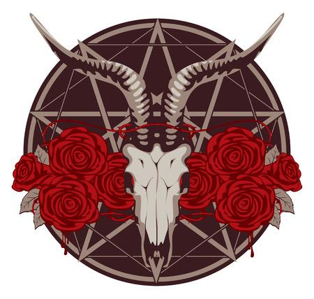 pentagramma musicale: emblema con teschio di capra e le rose con un pentagramma