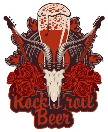 lucifer: Banner with beer glass for the pub with live music and electric guitar and bull skull and roses