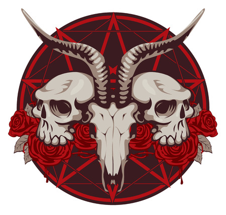 emblem with goat and human skull and roses with a pentagram