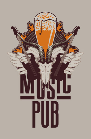 roll bar: Banner for the pub with live music and electric guitar and goat skull Illustration