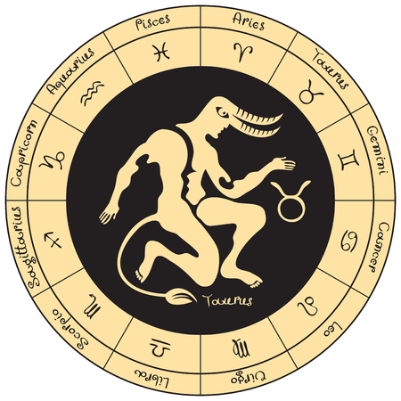 Taurus on the background of the circle with the signs of the zodiac Illustration