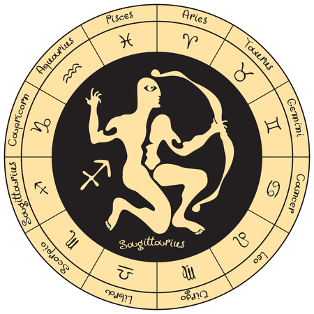 predicting: Sagitarius on the background of the circle with the signs of the zodiac