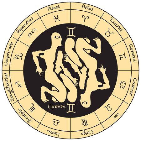 scorpion fish: Gemeni on the background of the circle with the signs of the zodiac Illustration
