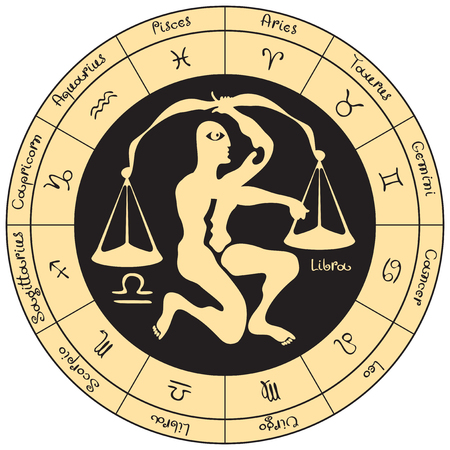 libra: Libra on the background of the circle with the signs of the zodiac