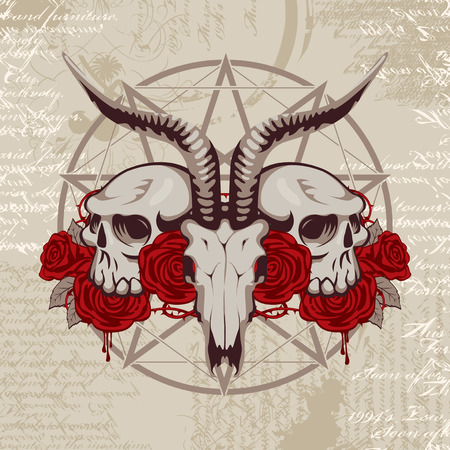 occultism: pentagram with the image of a goat skull on the background of the papyrus with occult symbols