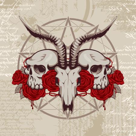 pentagramma musicale: pentagramma con l'immagine di un teschio di capra sullo sfondo del papiro con i simboli occulti