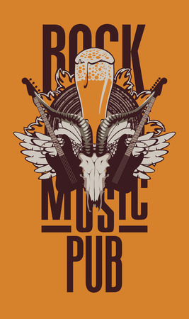 Banner for the beer pub with live music and electric guitar and goat skull Illustration